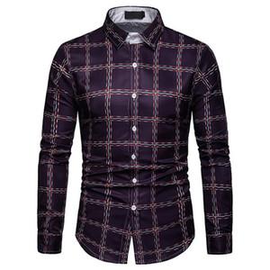 새로운 남성 Plaids 셔츠 긴 소매 비즈니스 남자 오피스 캐주얼 블라우스 남성 슬림 탑 저녁 옷 고품질 3XL Club Blusa