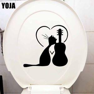 YOJA 21X19. 7CM Bedroon Wall Sticker Cat Music Animal Dance танцы прохладное искусство туалет наклейки T5-0006
