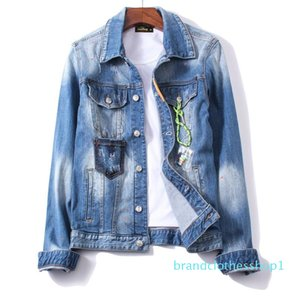 mens designer Denim Jackets New Fashion Casual Ripped BlueLong Sleeve Clothes Brand Luxury Jacket Streetwear Plus Size M-3XL HHL