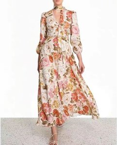 2020 Spring Zim nouvelle robe dentelle dentelle fleur couleur rétro australienne manches longues short salopette taille haute