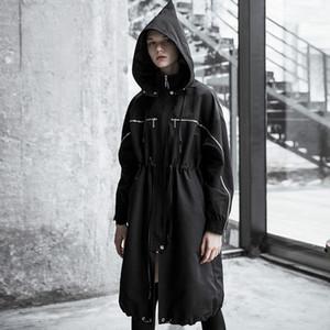 PUNK RAVE Kadınlar Sihirbazı Hat İpli Gevşek Uzun WINDBREAKER Serin Kişilik Fermuar Windproof Ceket