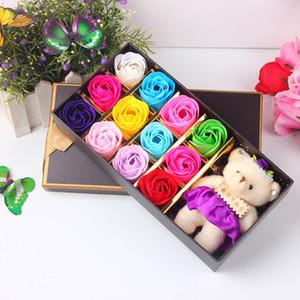 12pcs rose savon fleur avec petit ours mignon poupée ensemble cadeau romantique pour la fête de la Saint-Valentin mariage anniversaire