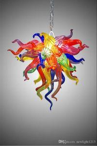 Small Size Multicolor-Blumen-Kunst-Glas-Lampen-Shop Dekor LED-Lichtquelle 100% Hand aus mundgeblasenem Glas langkettige Leuchter-Leuchte