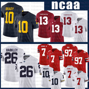 ncaa Alabama Crimson Tide football Jersey 13 Tua Tagovailoa Michigan Wolverines 10 Tom Brady Penn State Nittany Lion 26 Saquon Barkley axwef