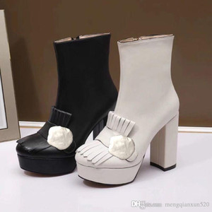 Klassische Rindsleder Kurzstiefel High Heels Damen Mode Dicke Fersenstiefel Super High Heel Boots Metallschnalle Leder Frau Schuhe Größe 35-40