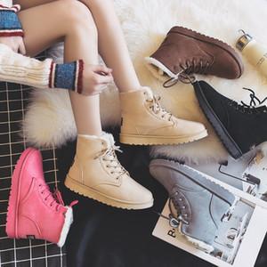 Scarpe di bianco Mid-Calf Boots-donne di marca delle donne Lace Up Booties signore piatto della piattaforma del tallone: Australia punta rotonda bassa Hee