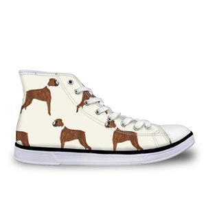 Customized Mens Vulcanized Shoe 3D Boxer Dog Print Flats Man Canvas Shoes Lace-up School Students High Top Shoes Male Footwear