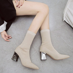 Venta-Nuevo caliente otoño / invierno de las mujeres sin cordones del tobillo Hlaf Chunky de tacón alto 7CM Tamaño de lana calcetín botines señoras top del alto del talón del 34-39