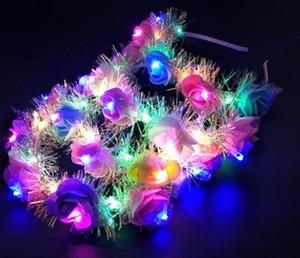 광선 화환 꽃 머리띠 성인 조명 LED 장난감 headbands 크리스마스 할로윈 파티 빛나는 깜박임 hairband 온천 관광 장난감