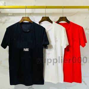 2020 Luxe Europe de Paris Big Black Blanc Trous brisé deux couche de tissu T-shirt Mode Hommes Femmes Star Print T-shirt décontracté Coton Tee Top