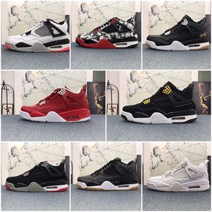 Mens basketball shoes 4s black cat Court Purple Bred Cactus Jack Varsity Royal Fire Red White Cement 4 men trainers sports xshfbcl sneakers