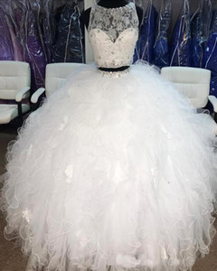 화이트 두 조각 볼 가운 성인식 댄스 파티 드레스 저렴한 쉬어 목 레이스 크리스탈 프릴이 얇은 명주 그물 달콤한 16 개 파티 드레스