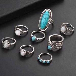 8 قطعة / المجموعة الفضة الفيروز العقيق خواتم مجموعة الطبيعية الأحجار الكريمة الدائري المرأة الأزياء والمجوهرات