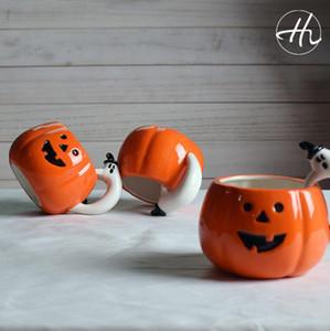 Тыква Керамической кружки с ручкой призрака Хэллоуин подарок Ceramic чашки воды тыквенной головой Кубок 10шт OOA7281-1