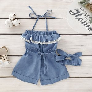 Toddler Kid Baby Girls Denim Romper Lace Bodysuit Jumpsuit Outfit Clothes Set
