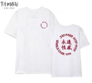Kpop Jay Park Sexy 4Evr Concert Same Printing O Neck Short Sleeve T Shirt Unisex Fashion Summer Flutter Sleeve Style T Shirt