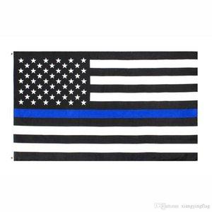 Bir doğrudan fabrika toptan 3x5Fts 90cmx150cm Emniyet Memurları ABD ABD Amerikan polisi ince mavi çizgi Bayrak
