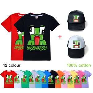 pop games unspeakable t-shirt with sun hat kid cotton t-shirt unspeakable tops hat for 2-16years child boys girls Summer tops clothes hat