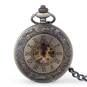 Drop Shipping Fashion Vintage Steampunk Mechanical Pocket Watch Men And Women Classic Casual Hollow Digital Jewelry Fob Watches