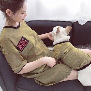 2020 Streifen Thin Hunde-Kleidung Mode Kurzärmlig Hundekleidung Qualitäts-3 Farben Cotton-Katzen-T-Shirt Teddy Kleiner Hund Shirts