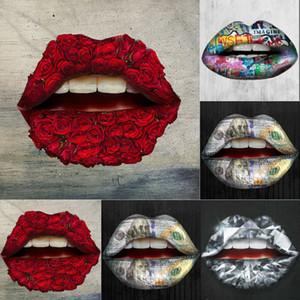 2020 Hot Lips baiser cristal acrylique Miroir autocollant décoratif sticker mural 3D Stickers muraux Home Décor décoration de la maison Salle de douche