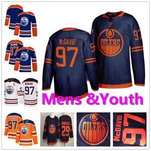 Juventude Mens Lady 97 Connor Mcdavid 29 leon draisaitl Marinho Branco Laranja Azul Casa Fora costurado Crianças Edmonton Oilers Hóquei no Gelo Jerseys