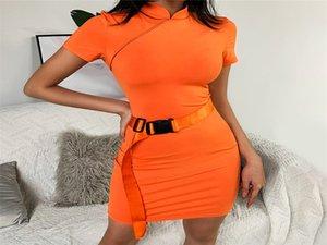 Cor laranja Mulheres Cheongsam Vestidos Moda Fique Collar manga curta de Slim Vestidos Sexy Sashes Vestidos BODYCON