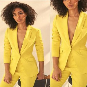 Yellow Mother of the Bride Suits Women Wedding Wear Blazer 2 Pieces Ladies Party Evening Wear For Wedding(Jacket+Pants)