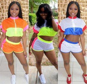 Sommer-Frauen Shorts Anzug Kurzarm T-Shirt Tops + Shorts 2-teiliges Set Patchwork-Reißverschluss-T-Shirt Outfits Sport Designer Anzug Clotings