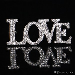 Letters Love Rhinestone Brooch 1.8*4.5cm Suit Lapel Pin Gift for Lovers Jewelry Party Accessories with Fast Free Shipping