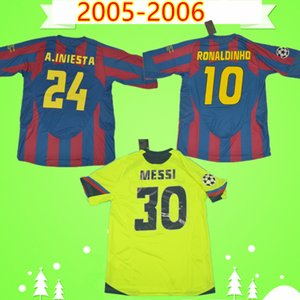 Barcelona jersey barca # 10 Ronaldinho 2005 Maglia 2006 Retro calcio casa camicia classica annata di calcio di MESSI Xavi Deco Camiseta de futbol 05 06