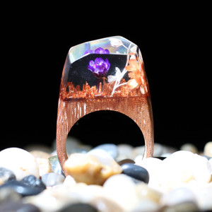 Wholesale Delicate Forest Resin Waterfall Ring Jewelry Creative Wood Resin Rings For Promotional Gifts