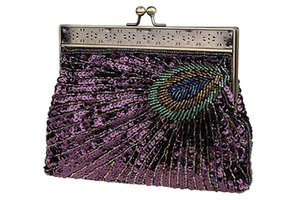 Women Retro Peacock Exquisite Pattern Beaded Evening Party Wedding Handbag, Purple