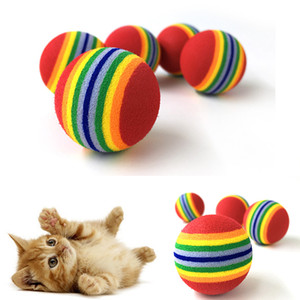 10PCS 레인보우 3.5cm 고양이 장난감 공 대화 형 고양이 완구 놀이 딸랑이 놀이터 스크래치 EVA 공 교육 애완 동물 용품