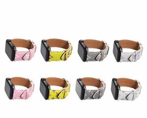 Apple Bracelet de montre en cuir de luxe pour iWatch Bracelet 38mm 42mm 40mm 44mm Taille Bands cuir marque Bracelet Designer Bracelet A05