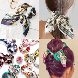 Bandas arco de la cinta de la perla del pelo floral Banda larga cola de caballo bufanda lazo del pelo Scrunchies muchachas de las mujeres elásticos Pelos Accesorios para el cabello