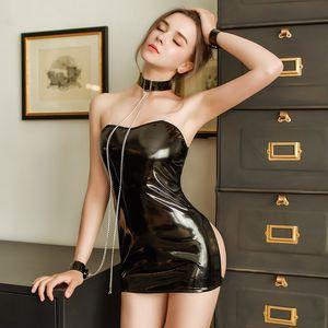 Lingerie sexy cosplay sexy chaîne en cuir verni Backless Bondage Set de traction latex jupe pour les femmes justaucorps jeux costume