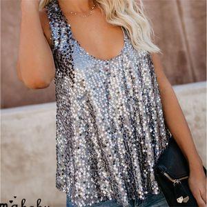 Модная женская одежда U-образным вырезом пуловер блесток Майка блестка камзол повседневная полиэстер без рукавов жилет