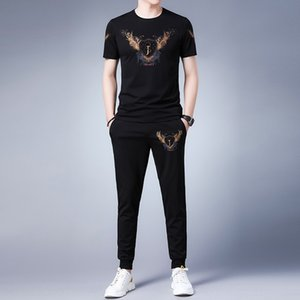 Men's Round collar short-sleeved T-shirt set 2020 men's casual pants T-shirt sports pants sports top trousers two-piece set thin