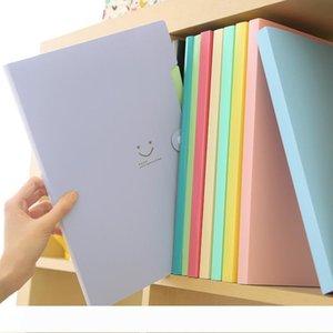 Una nuova 4 colori A4 Kawaii Carpetas accessori per l'archiviazione Sorriso File impermeabile Cartella 5 piani di un documento dell'ufficio del sacchetto di cancelleria