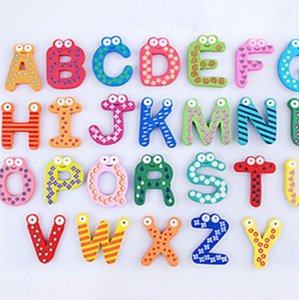 26 Carta Nevera Imanes de Animales A-Z de madera etiquetas engomadas magnéticas del alfabeto imán del bebé Juguetes para niños Inicio la decoración del jardín LXL802