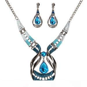 Manufacturers One Shipping Europe And The United States Exotic Retro Drip Oil Gemstone Necklace Drop Set Earrings Clavicle Chain Wholesale