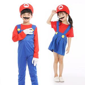 Yetişkinler ve Çocuklar Hediyeler için 2020 Halloween Cosplay Süper Mario Bros Cosplay Dans Kostüm Seti Çocuk Cadılar Bayramı Mario Luigi Kostüm