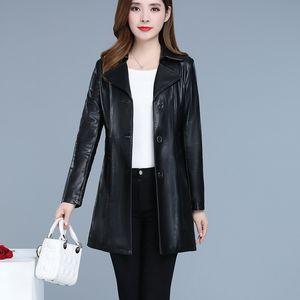 2020 new women's fur coat temperament korean version of long lapel women's fur coat slim pu leather trench
