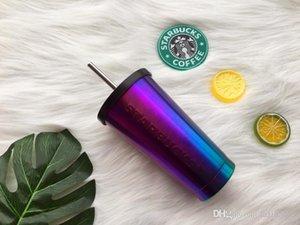 Nouveau Starbucks électrolytique éblouissement bleu paille café tasse 16 oz En Relief En Acier Inoxydable Tasse d'eau froide en-voiture Out Porte D'accompagnement tasse