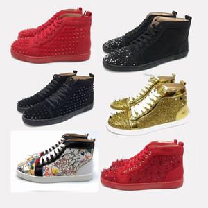 Kırmızı Yüksek kutusu damızlık başak ayakkabı düşük kesim parti makosenler ile suedue deri erkek bayan ayakkabı boyutu 35-47 US12 rahat ayakkabı kesti fondip