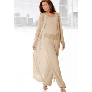 Ceket Champagne şifon Anne Formal Elbise Yaz Uzun Kollu Scoop Boncuk Kristal Parti vestidos Yeni Damat Anne Pantolon Suit
