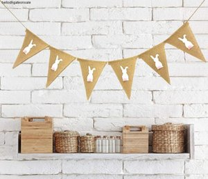Banner Flags Rabbit Printed Banner Flag vintage Easter Wedding Party Burlap Banners Rustic wedding decoration 2m