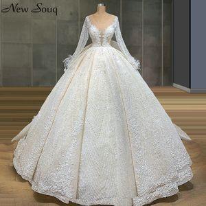 Dubai Long Sleeve Lace Wedding Dresses with Removable Train 2020 Illusion O Neck Luxury Ball Gown Bridal Gowns Vestido De Novias