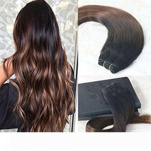 Human Hair Extensions Balayage Color Natural Black Ombre Chocolates Brown Real Human Hair Double Weft Balayage Hair Bundles